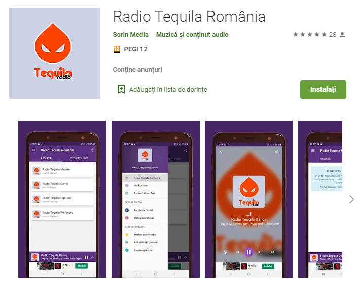 Aplicatie Android Radio Tequila Romania